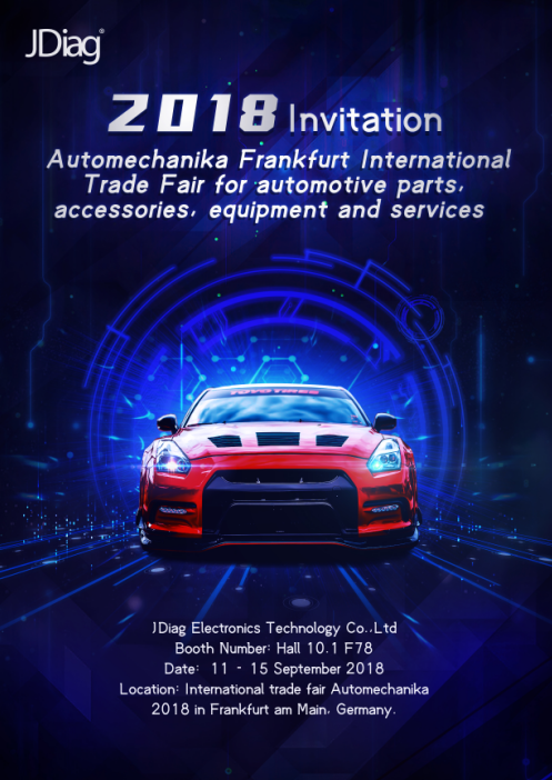 JDiag Invitation of Internation Trade Fair Automechanika 2018 in Frankfurt Germany